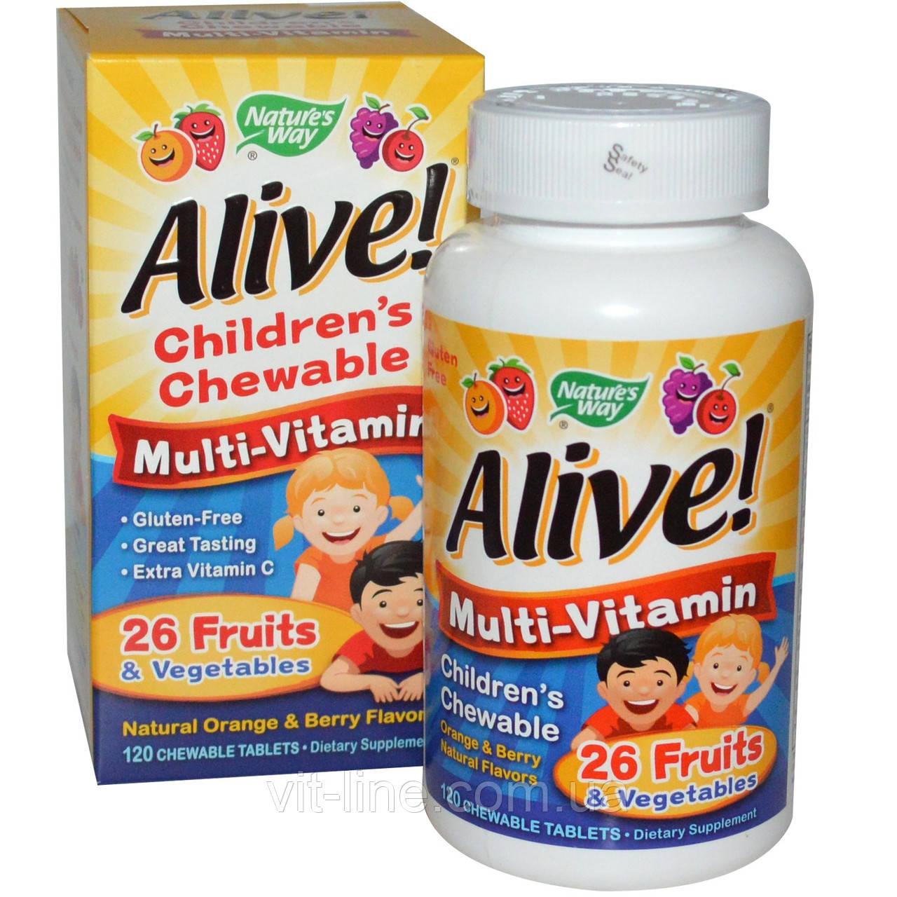 Nature's Way, Alive! Детские жевательные мультивитамины со вкусом апельсина и ягод, 120 жевательных