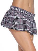 Серая мини юбка школьницы на липучке