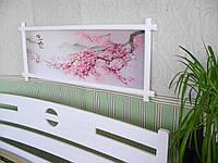 """Картина """"Ветка Сакуры"""" в белой деревянной рамке. Дерево - сосна."""