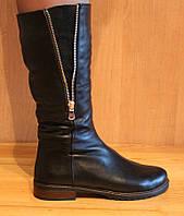 Сапоги женские зимние кожа на низком ходу, зима женские сапоги из кожи от производителя модель НС2