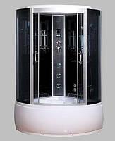 Гидробокс SAN B184 (120*120*215) поддон 40/50см черный кирпич сатин/серое