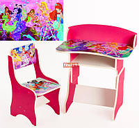 Парта растущая + стульчик Человек Паук, Смешарики, Винкс розовая