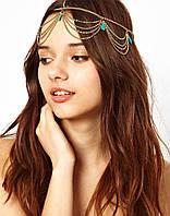 Цепочка на голову с бирюзовыми камнями, фото 1