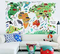 Наклейка виниловая Познавательная карта мира 3D декор