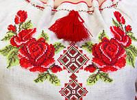 Женское вышитое платье крестиком Зоряна с розами и орнаментом. Лен