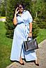 Длинное женское батальное платье в горошек