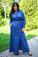 Модное длинное платье-рубашка 42-52, фото 1