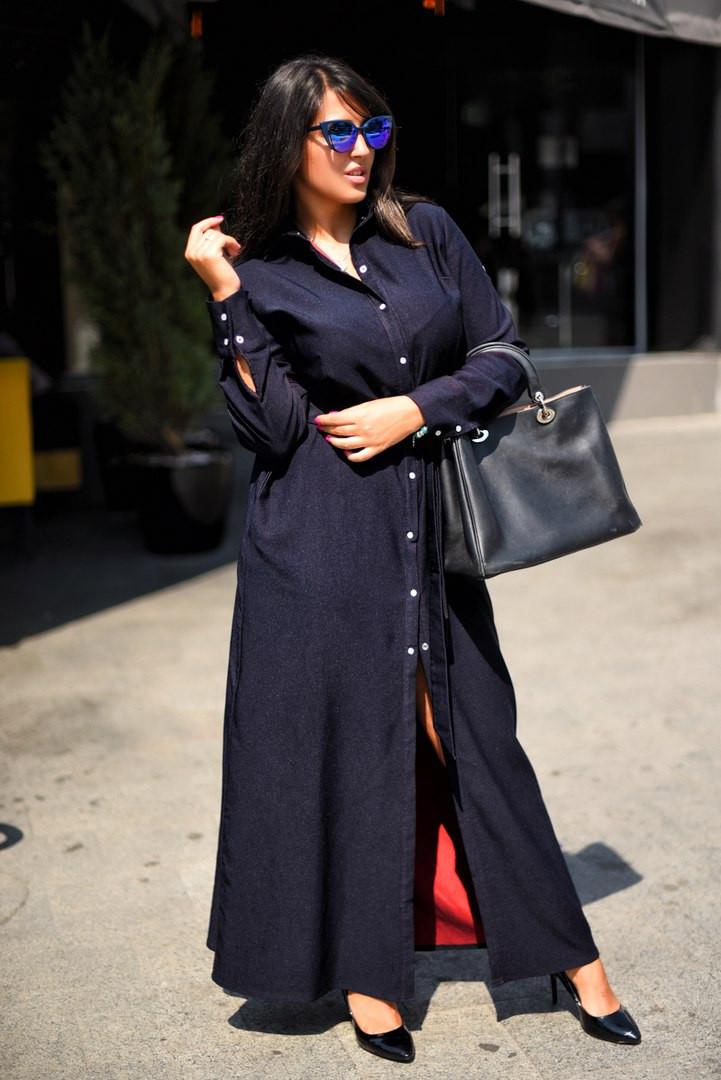 ba455fce93c Длинное женское батальное платье рубашка   продажа