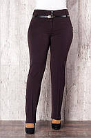 Оригинальные женские брюки батал коричневого цвета оптом