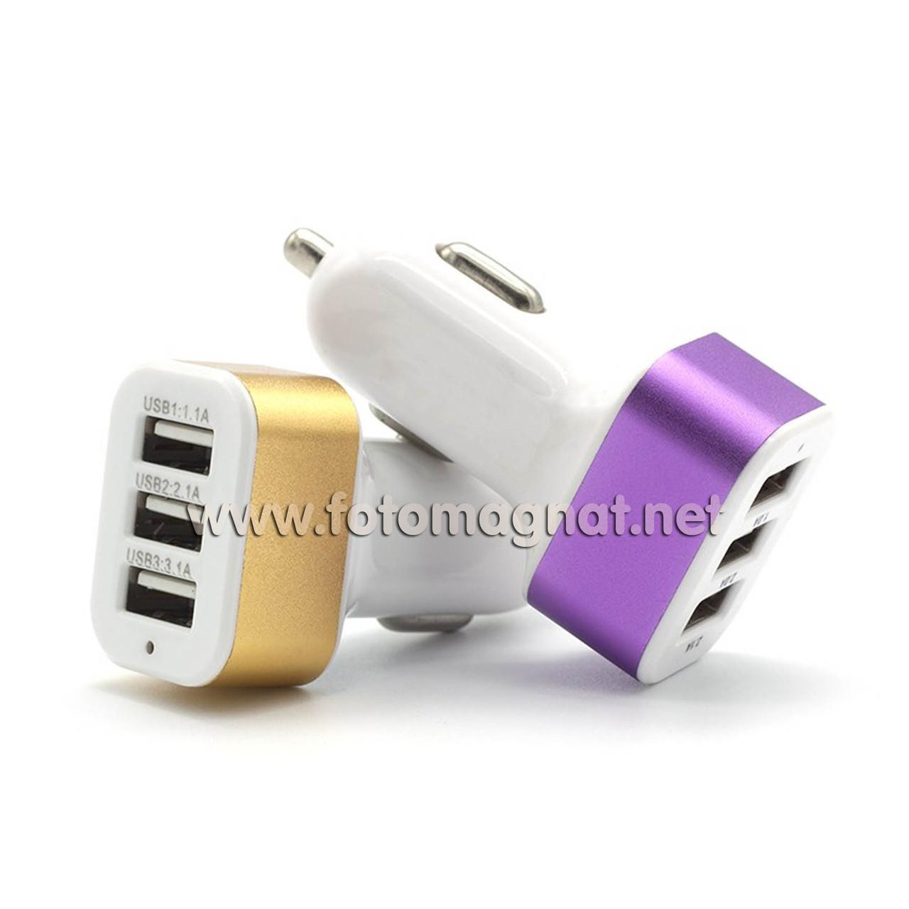 Автомобильное зарядное USB 4.1А 3 USB  COLARIX   (прикуриватель usb)