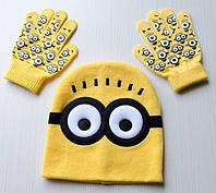 Детская шапка с перчатками