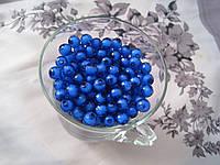 Бусины прозрачная с белым. 0,8 см Набор 25 штук. Синие