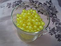 Бусины прозрачная с белым. 0,8 см Набор 25 штук. Желтые