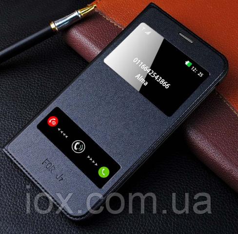 Черный кожаный чехол-книжка на Samsung Galaxy J7 (2016)