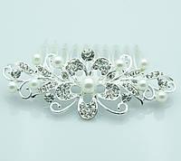 Свадебный гребень -кристальный цветок с жемчужинами. Аксессуары для невест оптом в Одессе. 280
