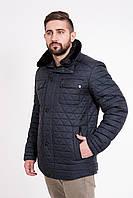 Стеганая мужская куртка с меховым воротником Стеганая, 48, Отложной, Морская волна