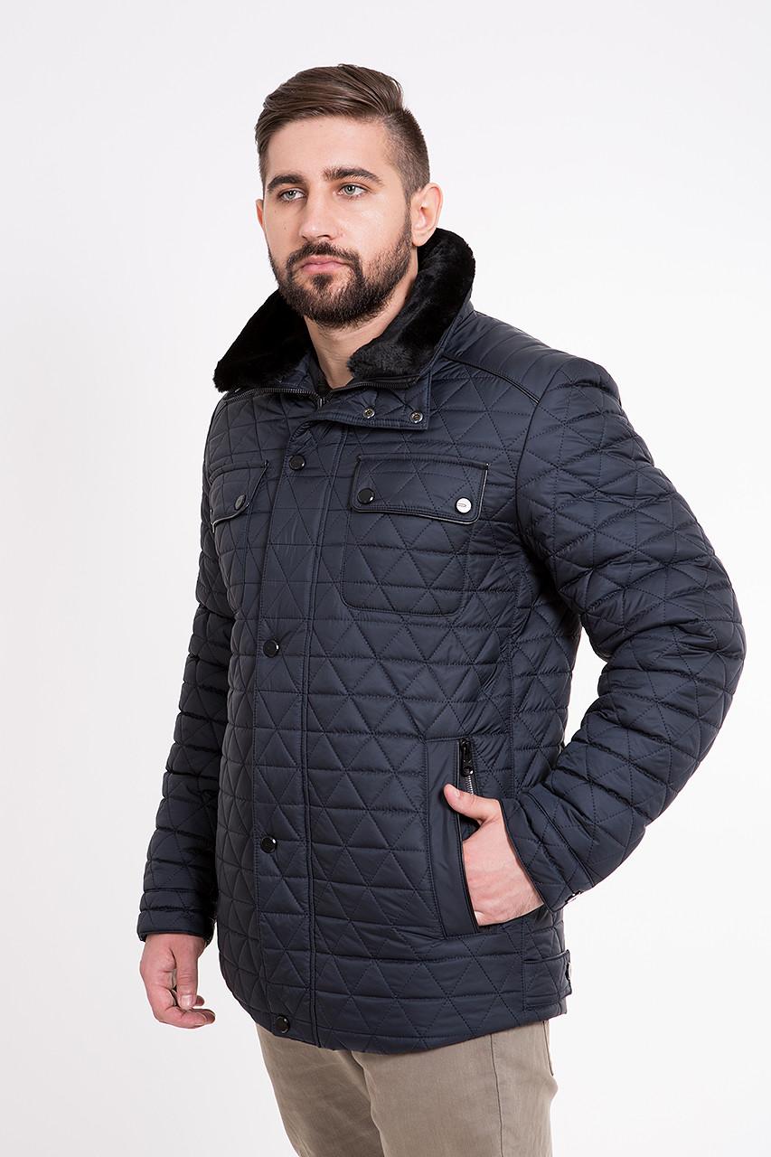 Стеганая мужская куртка с меховым воротником Стеганая, 54, Отложной, Темно-синий - KATTALEYA в Харькове