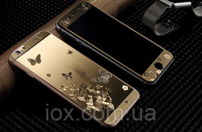 Двойное 3Д защитное противоударное стекло Бабочки для Iphone 6/6S
