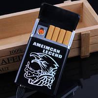 Портсигар с USB зажигалкой,чёрный. Портсигар 8 сигарет