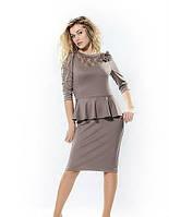 Платье нарядное с баской из трикотажа Адель  модели в размерах  44, 46