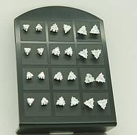 Серьги гвоздики с кристаллами, серьги шамбала на планшетках