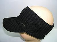 Козырек вязаный черный