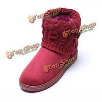 Женщины случайные хлопка лодыжки короткие сапоги вязать толстые ботинки снега сапоги пинетки теплые