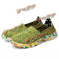 Мы размер 5-11 женщин ручной работы вязание обувь случайные удобные дышащие камуфляж квартиры обувь