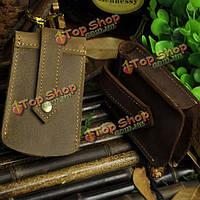 Большой емкости мужчины натуральная кожа брелок для ключа автомобиля поясная сумка