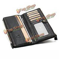 Мужчины натуральная кожа длинный молния держатель бумажника визитная карточка карман сумки