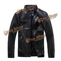 Мужская кожаная куртка PU стоять воротник карман подкладка твердый цвет пальто и пиджаки