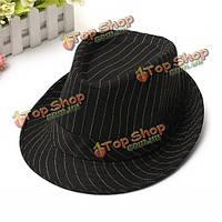 Мужчины женщины хлопка Fedoras фетровой шляпе ролл капот краев полосатый колпак