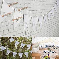 5.5m бумажные флажки белое сердце треугольник свадьба гирлянда овсянка мешковины украшение