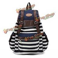 Женщины мужская холст рюкзак нашивки сумки для отдыха учащихся школы мешок