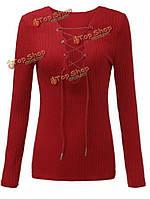 Шнуровке с длинным рукавом крест крест зима твердый тонкий рубашку женщин