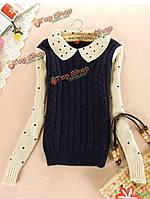 Пуловер жилетка с рубашкой в горошек женская
