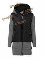 Тонкое пальто капота путаницы вязания с длинным рукавом, фото 1