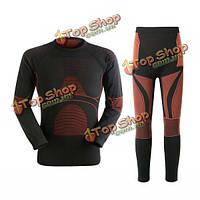 Мужской теплый дышащий тепловой быстрый сухой плотный эластичное белье зимний открытый спортивный костюм