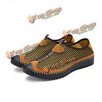 Мужчины летний открытый спортивный плоский дышащий моды круглый носок полые из сетки спортивной обуви