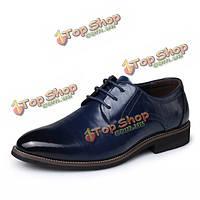 Мужчины зашнуровать случайные кожаные ботинки формальный острым носом бизнес обувь
