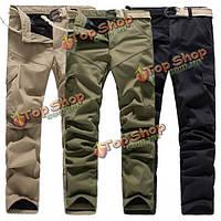 Мужские толстые открытый военный Multi карманный флис подкладка хлопок брюки-Карго