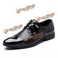 Большой размер кружева вверх формальная обувь мягкая кожа бизнес обувь острым носом