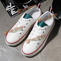 Унисекс кружева вверх мягкой подошве спортивные тапочки чистый цвет вскользь атлетических любовника обувь