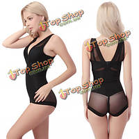 Женщин сексуальный сетки перспектива Shapewear глубокий v под крюком One шт пижама