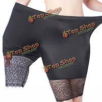 Плюс размер женщин уютные кружева дышащие трусики высокие эластичные шорты тонкие защитные трусики