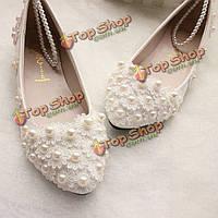 Белое кружево жемчуг лодыжки ловушку свадебные квартиры низкие высокие каблуки свадебные туфли