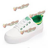 Зашнуровать чистого цвета холст обувь случайные мягкой подошве белые туфли