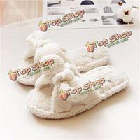 Женщины дом обуви хлопка удобные крытый вскользь мягкая домашняя обувь тапочки