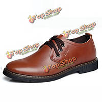Зашнуровать мягкой кожи формальные бизнес обувь круглый носок резиновые ботинки