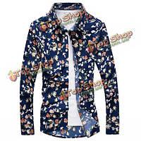 Весна осень цветочным узором печати длинными рукавами мужская случайные хлопка рубашку